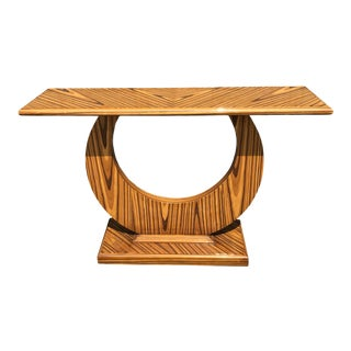 Art Deco Zebrawood Console For Sale