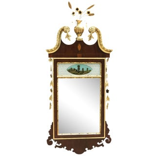 20th Century Chippendale Style Mahogany Mirror With Gilt Inlaid and Eglomise Panel