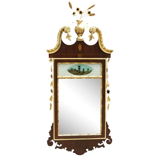20th Century Chippendale Style Mahogany Mirror With Gilt Inlaid and Eglomise Panel For Sale