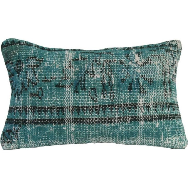 Green Vintage Handmade Overdyed Pillow Cover 12x20 - Image 1 of 6