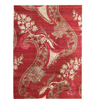 Modern Silk and Wool Rug From Nepal in Red and Taupe For Sale