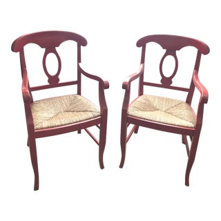 Pottery Barn Red Napoleon Armchairs - a Pair For Sale