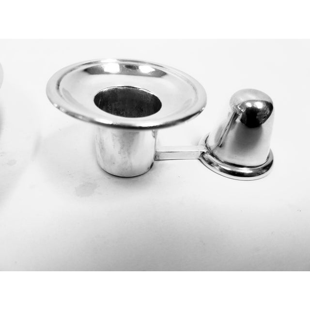 Silver Antique English Elkington Candle Holder For Sale - Image 8 of 10