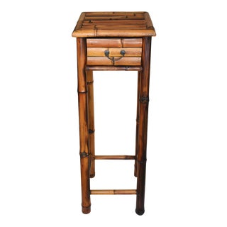 Vintage Boho Chic Tall Burnt Bamboo Plant Accent Table For Sale