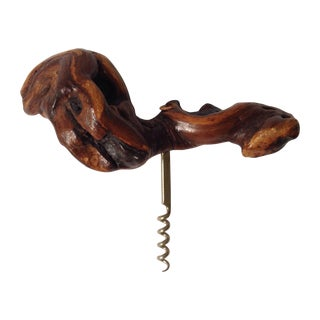 French Grape Wood Corkscrew For Sale