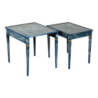 1960s Shabby Chic Blue Stacking Tables - a Pair For Sale