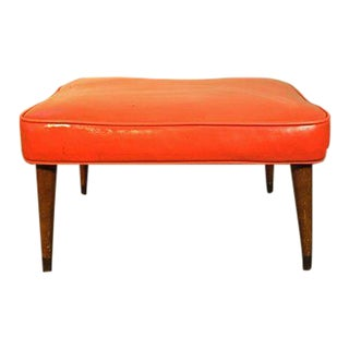 Vintage Mid Century Orange Footstool For Sale