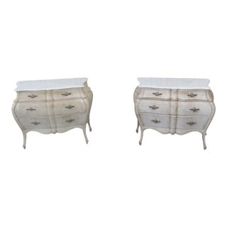 Swedish Style Marble Top Bombay Commodes - a Pair For Sale