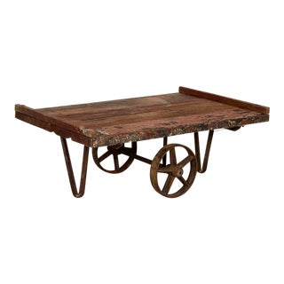 Antique Original Red Painted Work Cart Primitive Coffee Table For Sale