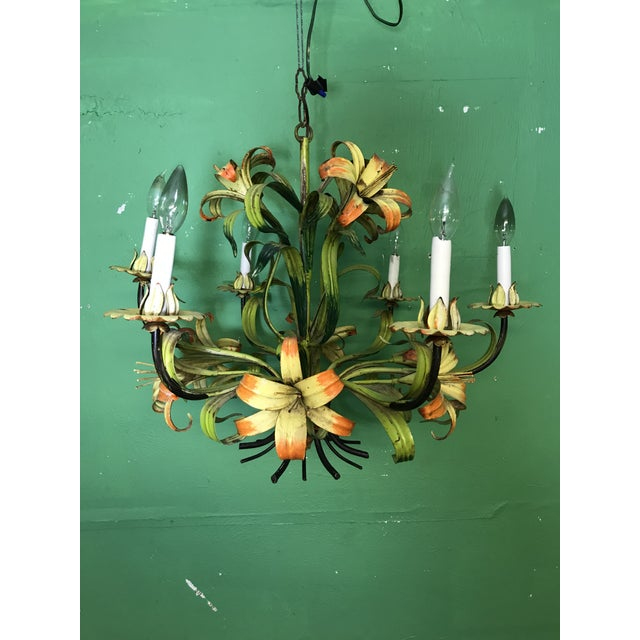 Vintage Italian Hand Painted Tiger Lily Tole Chandelier For Sale - Image 13 of 13