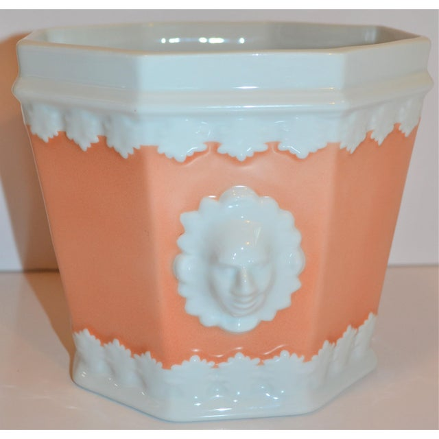Neoclassical Vintage Apricot & White Mottahedeh Porcelain Cachpot For Sale - Image 3 of 9