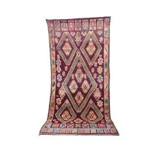 "Boujad Vintage Moroccan Wool Rug - 6'7"" X 13'11"" For Sale"