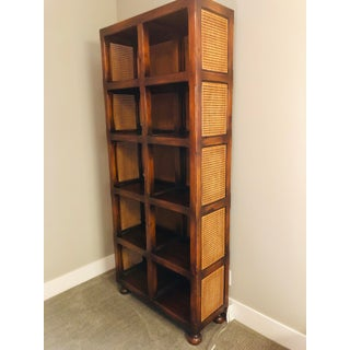 English Traditional Cane and Antiqued Wood Tall Bookshelf Preview