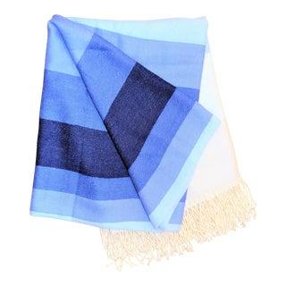 Matouk Alpaca Blue Throw Blanket For Sale