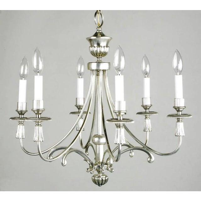 Hollywood Regency Lightolier Silver Italian Six-Arm Chandelier For Sale - Image 3 of 6