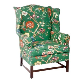 Vintage Green Chintz Hollywood Regency George III Style Wingback Chair For Sale