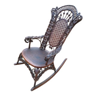 Late 19th Century Civil War Era Ornamental Rattan Rocker For Sale