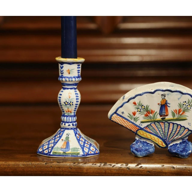 Figurative Mid-20th Century French Henriot Quimper Pair of Candlesicks With Matching Vase For Sale - Image 3 of 13