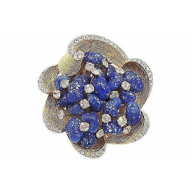 Blue Vintage 1960s Signed Kramer Faux-Lapis Rhinestone Pin For Sale - Image 8 of 8