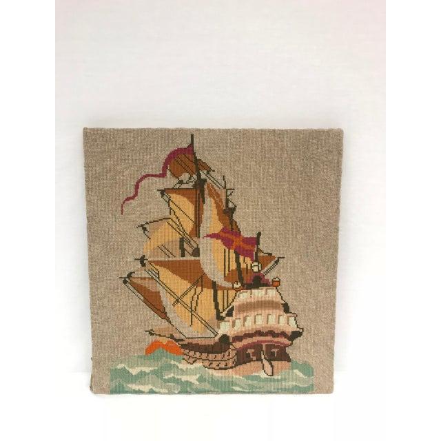 English Needlepoint Sailing Ship Wall Hanging For Sale - Image 4 of 4