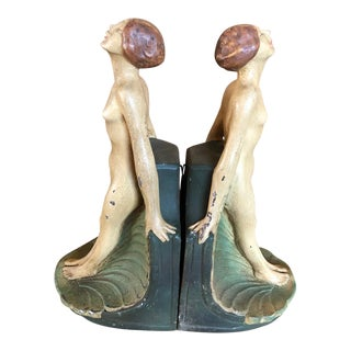 1940s Vintage Art Deco Bookends With Nude Female Figure - a Pair For Sale