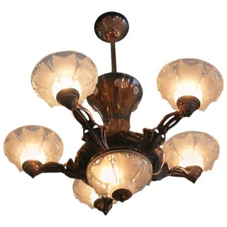Copper Art Deco Style Chandelier with Frosted Glass Shades