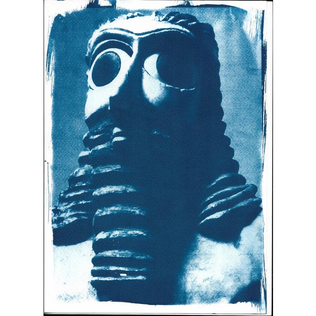 Sumerian Hollistic Sculpture, Cyanotype Print on Watercolor Paper, A4 Size (Limited Edition) For Sale