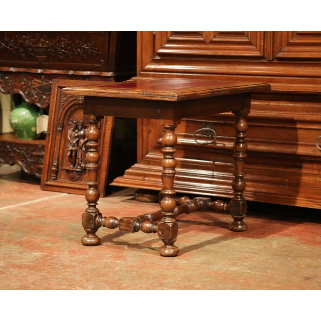 19th Century, French, Louis XIII Carved Walnut Table Desk With Red Leather Top For Sale - Image 9 of 11
