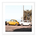 Positano Auto by Natalie Obradovich in White Framed Paper, Large Art Print