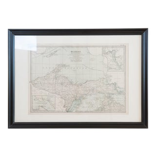 Antique Hand Colored Map of Michigan