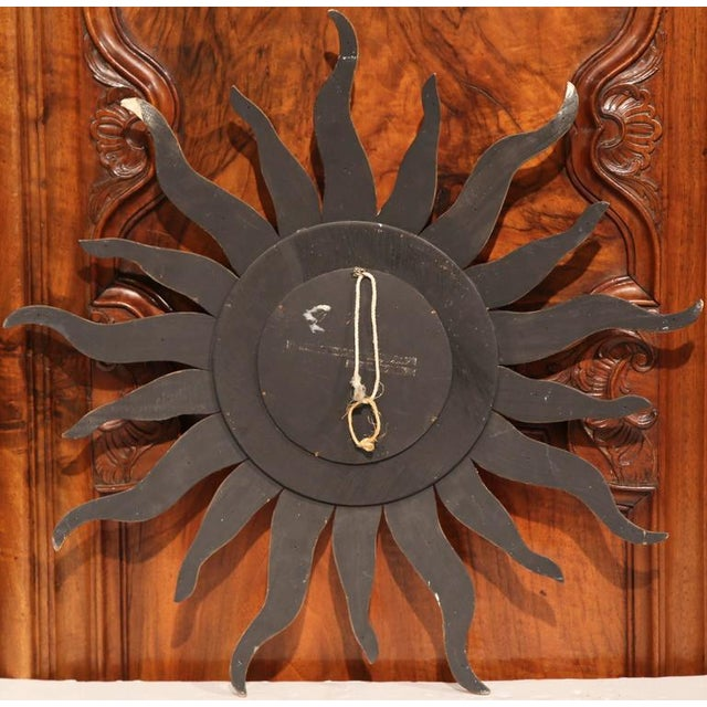 Gold Mid-Century French Sunburst Mirror With Gilt Finish and Motifs For Sale - Image 8 of 8