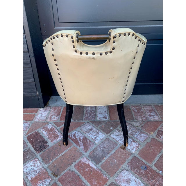 American 1950's Vinyl English Pub Club Chairs - Set of 7 For Sale - Image 3 of 9