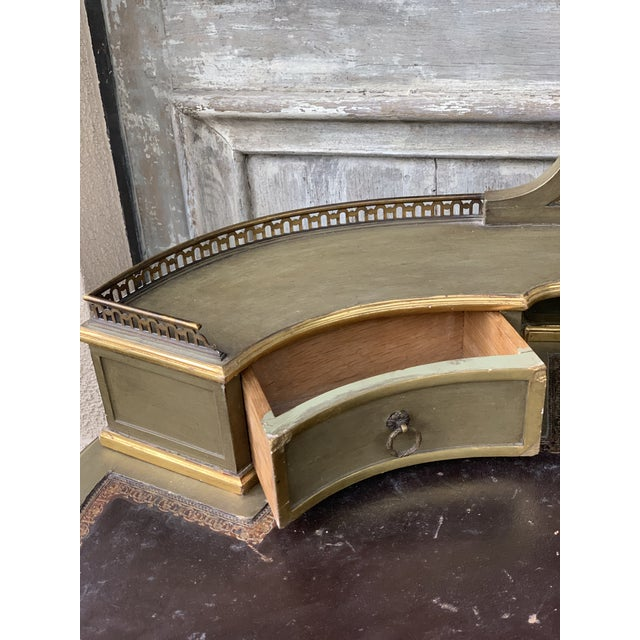 Antique Painted French Writing Desk With Parcel Gilt and a Leather Top For Sale - Image 4 of 11