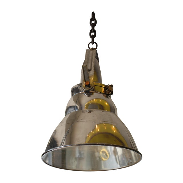 Vintage Industrial Aluminum & Steel Pendant Lamp - Image 1 of 10