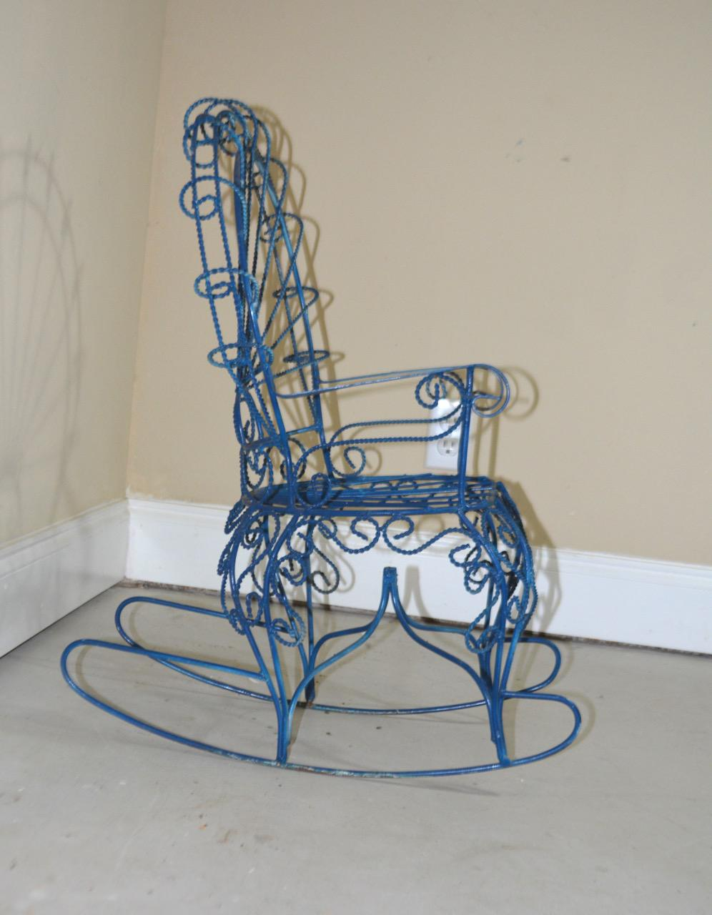Childu0027s Blue Wrought Iron Peacock Rocking Chair   Image 4 ...