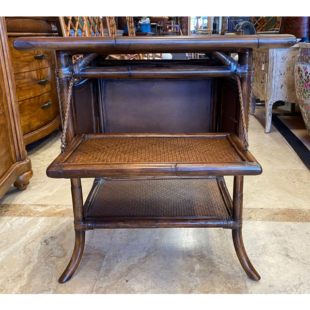 Asian Rattan End Table With Drop Shelves For Sale - Image 10 of 12