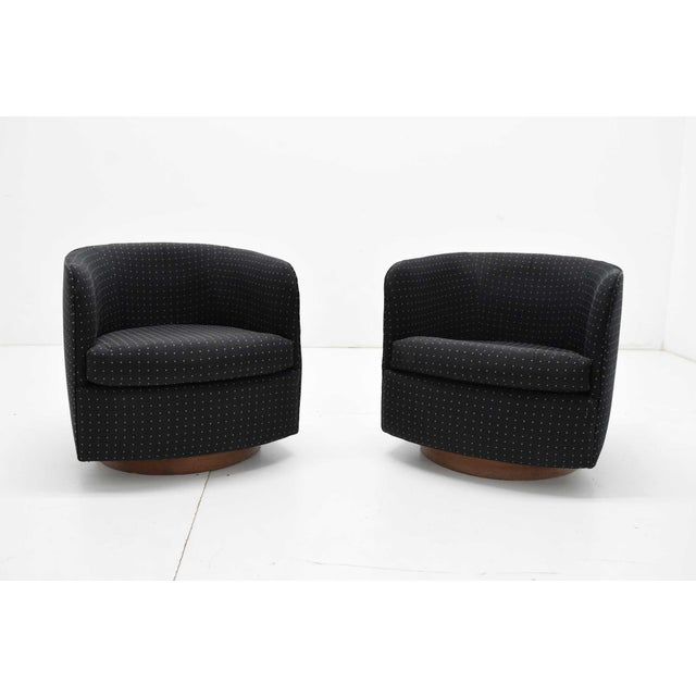 Milo Baughman for Thayer Coggin Tilt and Swivel Lounge Chairs - a Pair For Sale - Image 9 of 9
