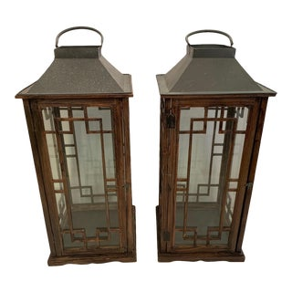 Wood and Glass Lanterns - a Pair For Sale