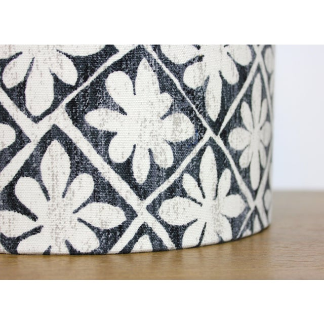 Boho Chic Desta Floral Drum Lamp Shade in Ebony For Sale - Image 3 of 6