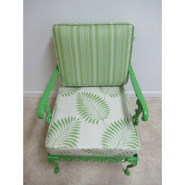 Vintage Green Aluminum Chippendale Ball & Claw Patio Chair For Sale - Image 5 of 11