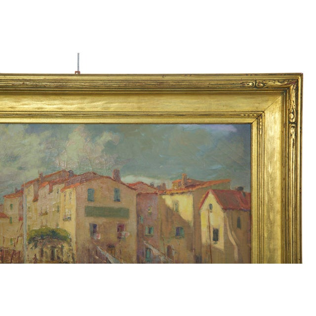 French Impressionism Antique Oil Painting of Fishing Harbor by Paul Balmigere For Sale - Image 9 of 13