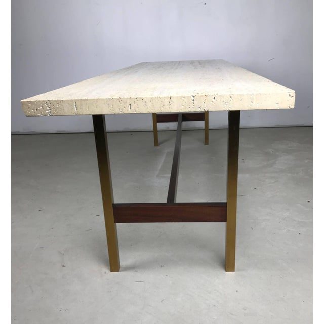 Unique Travertine Walnut and Brass Cocktail Table Designed by Phillip Enfield For Sale In New York - Image 6 of 8
