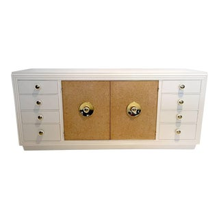 Paul Frankl Sideboard with Lacquered Cork and Brass For Sale