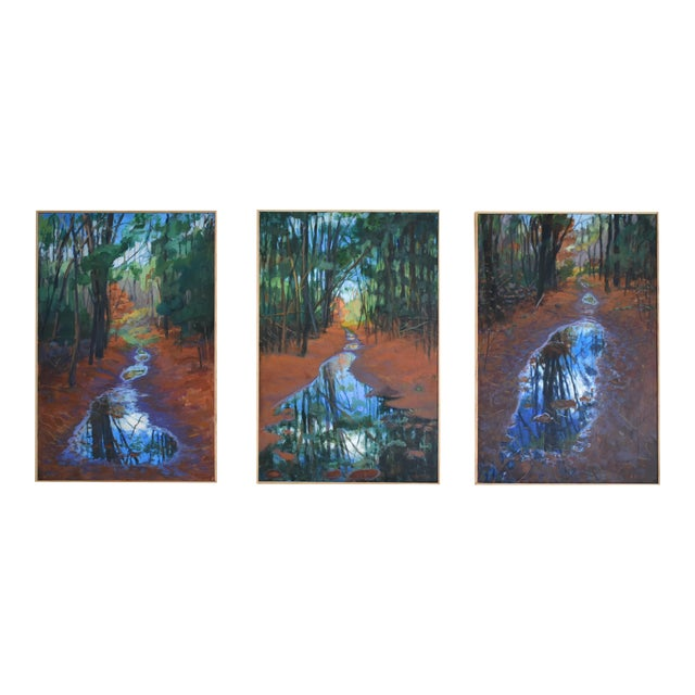 """Standing by Peaceful Waters"" Contemporary Triptych Painting by Stephen Remick - Set of 3 For Sale"