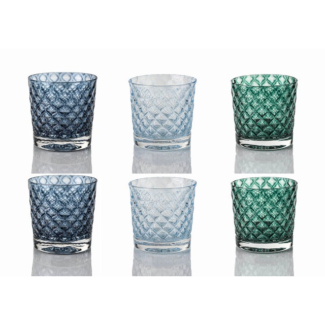 Mindala Short Glasses, Blues and Green - Set of 6 For Sale - Image 12 of 12