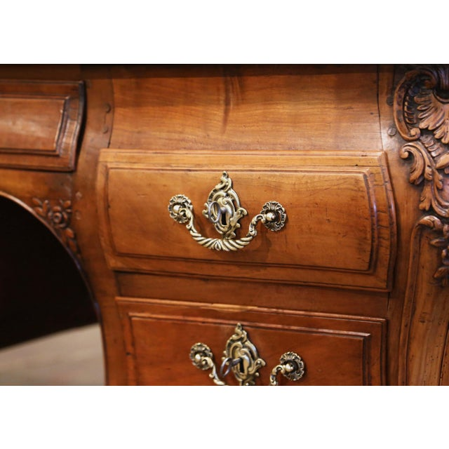 18th Century French Louis XV Carved Serpentine Cherry Desk With Parquetry Top For Sale - Image 11 of 13