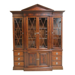 1990's Vintage Ethan Allen Mahogany Hutch Display For Sale