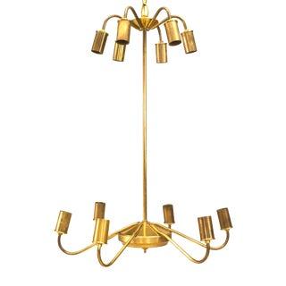 1950s Italian Brass Chandelier For Sale