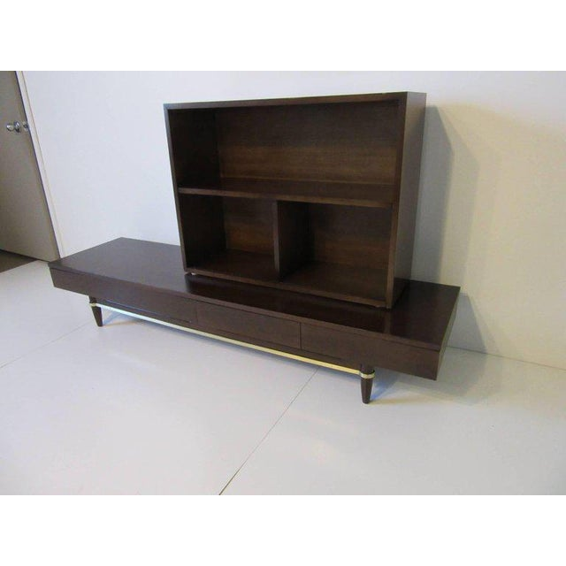 Wood American of Martinsville Ebony and Brass Platform Bookcase For Sale - Image 7 of 7