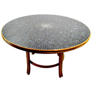 Bamboo and Tile Dining Centre Table After McGuire For Sale